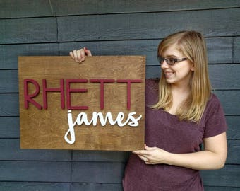 24 x 18 Custom Name Wood Sign | Wood cut out | Name cut out | Nursery name sign | Nursery decor| Wood baby name | Wall hanging | Custom