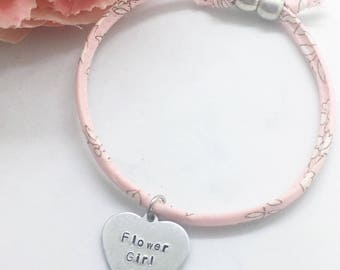 Personalised girls 'Flower Girl' Liberty bracelet   Gifts for flower girl   Gifts for bridesmaid  Personalised gifts   Childs bracelet  