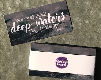 "Set of 25 - When You Pass Through Deep Waters | Isaiah 43:2 - 2""x4"" Scripture Cards"