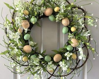 Easter Wreath,Easter door decoration,Egg wreath,Easter egg wreath,Spring wreath for front door