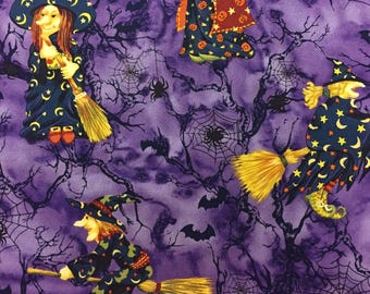 Halloween Fabric Witches Bats Spiderwebs Cotton By The Yard 36 Inches Long