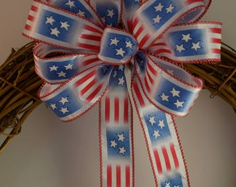 Patriotic Flag Bow, Sparkling Stars Bow, 4th of July Bow, Memorial Day Bow, Summer Bow, Decorative Bow, Red, White & Blue Bow, Wreath Bow