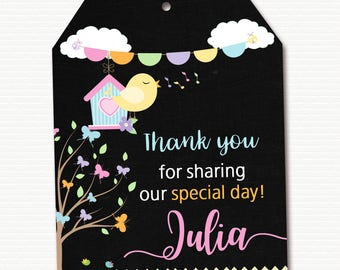 Birds Favor Tag, Birds Thank You Tag, Birds Gift Tag, Birds Birthday Party, Birds Party, Birds Birthday, Personalized, PRINTABLE