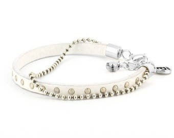 White Azely studded leather bracelet