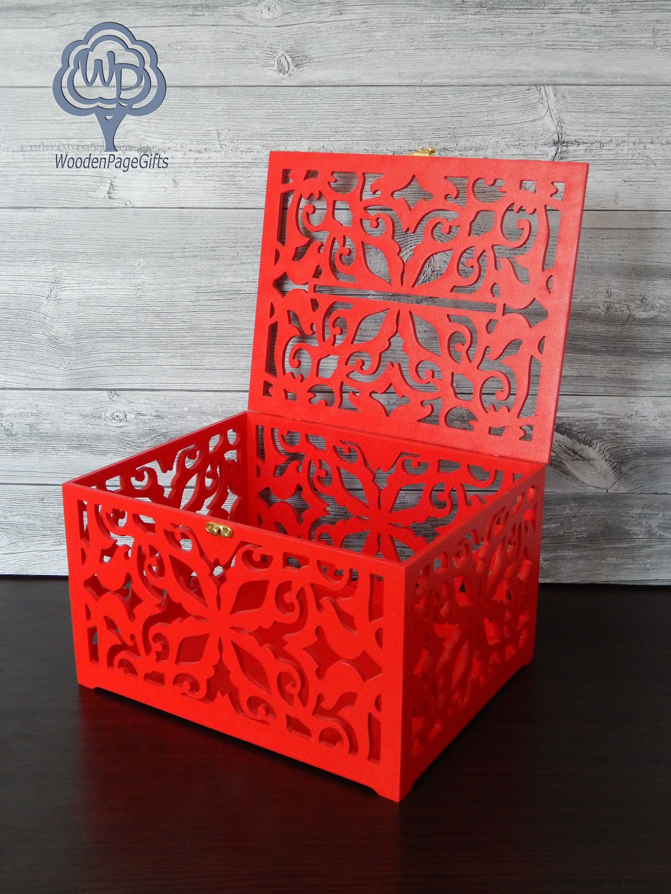 Red wedding card box Wood Wedding Card Box With Slot Wedding Gift ...