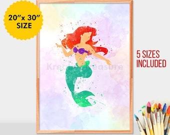 Ariel Princess, Little Mermaid, Art Print, Disney Princess, Little Mermaid, Watercolor Print, Wall Art, Poster Decor, Room Decor