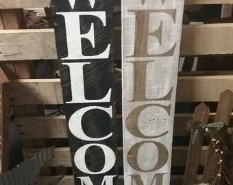 Vertical Welcome Wooden Sign Farmhouse Decor Home Decor Outdoor Decor Country Decor Rustic Primitive