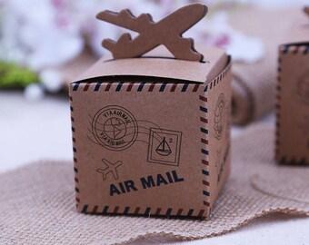 20pcs20pcs Rustic Wedding Decor Air Mail Kraft Paper Candy Box Travel Themed Wedding Decoration Mariage Vintage Chic Party Supplies