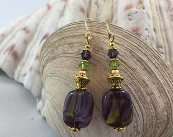Purple Green Glass Bead Swarovski Crystal Dangle/Drop Earrings 18ct Gold PlateWires