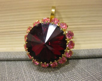 Gorgeous Deep Red and Pink Austrian Crystal Rhinestone Pendant