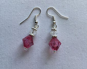 Bright pink beaded earrings