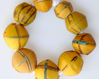 9 Mixed Venetian King Beads in GoodCondition - Vintage African Trade Beads - #8153