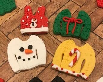 Tacky Christmas Sweater Fondant Cupcake  Toppers Ugly Sweater Tacky Party Cupcakes Edible Tacky Sweater
