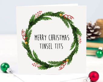 Rude Christmas Card - Merry Christmas Card - Funny Christmas Card boyfriend girlfriend husband wife fiance