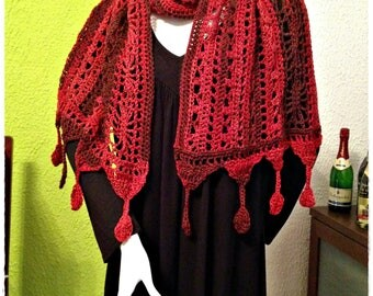 Crochet multifunctional scarf / shawl with leaves - scarves