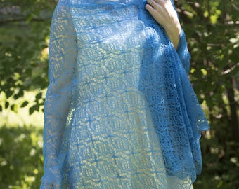 Sapphire blue 100% wool hand-knitted lace shawl
