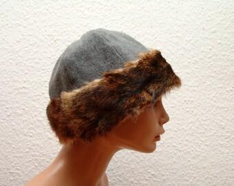 CAP, Middle Ages, Viking, Rus, fur rabbit Genuine, gr. 58, wool herringbone, linen