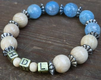 "Personalized Dragon agate bracelet ""HDL"""