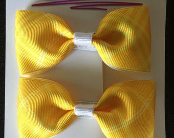 """Yellow Patterned Ribbon Bow Hair Accessory (Set of 2) - 3.5"""""""
