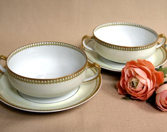 French Theodore Haviland Limoges Set of 2 Creme Soups and Saucers Schleiger 278 Gold Gilt Circa 1905 Decorated By Haviland &Co Limoges