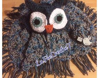 OWL toy crochet hooded blanket OWL Hooded Owl blanket
