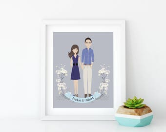 Illustrated Engagement Portrait~Digital Couple's Portrait~Illustrated Portrait Print~Engagement Gift Print~Valentines Day Gift~Love Gift
