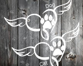 Pet Memorial Decal with wings, infinity heart - remembrance decal - heart angel decal - always in our heart - angel wings decal