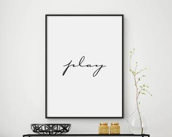 Play Printable, Kids Room Decor, Play Room Decor, Room Wall Art, Play Print, Kids Art Print, Kids Room Art, Play Room Art