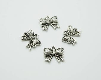 SET of 10 Silver Bow charms ' D42)