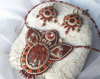 Fire Lily Bead Embroidery Set (necklace and earrings)