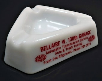 AMERICAN AUTOMOBILE ASSOCIATION...A A A...Milk Glass Ashtray...New Condition...Garage Art Or Man Cave...Or Just A Collectible