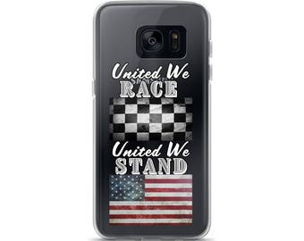 United We Race United We Stand Samsung Galaxy Phone Cover - White letters (for dark phones)