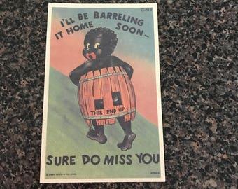 FREE SHIPPING **Vintage 1950's Black Americana Postcard