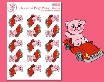 Red Sports Car Oinkers - Driving Stickers - New Car Stickers - Road Trip Stickers - Car Stickers - Vacation Stickers - Pigs - [Misc. 1-95]