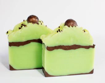 Chocolate Mint Cold Process Soap, Homemade Soap