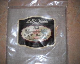 Cross Stitch Belgium Linen 32ct  20 x 27  Un-bleached -sealed pkg.