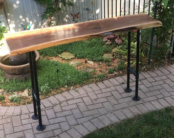 Walnut Bar Height Table, Cabin Furniture, Industrial Style furniture, Natural Wood Furniture, Black Walnut Table, Live Edge Wood Tables