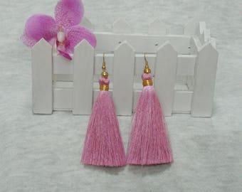 Purple Silk Tassel Earrings with Gold Beads , Boho Earrings, Gypsy Earrings