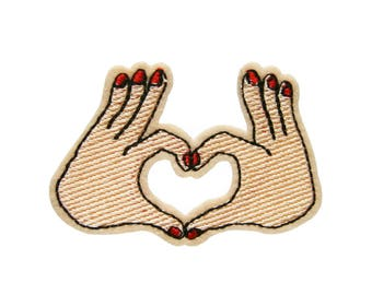 Heart Love Hand Sign Patches Applique Embroidered Iron on Patch