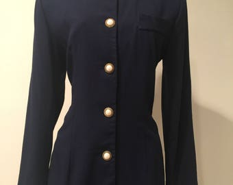 Ladies, Vintage, Fitted, Jessica Howard, Navy, Blazer, 'Pearl' & Gold Rope Buttons, Size 6