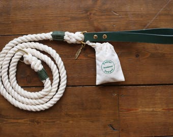 Rope Dog Lead with Green Leather Handle, Charm and Bag