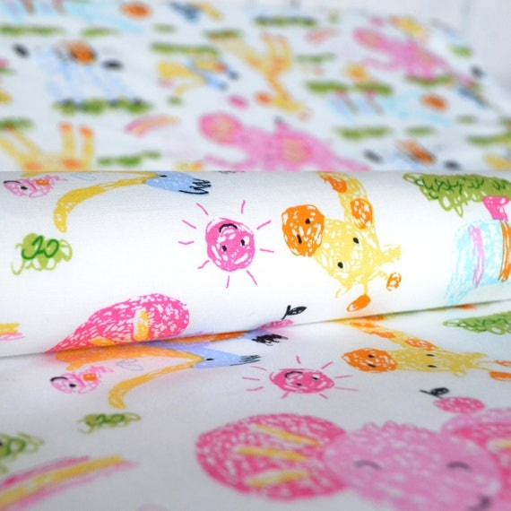 Animal fabric childrens fabric white childrens fabric for Childrens animal fabric