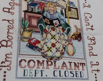 Complaint department cross stitching