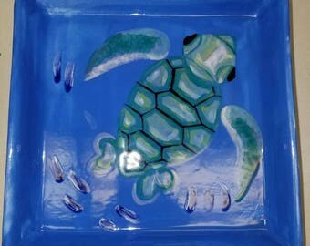 """6"""" hand painted turtle candy dish"""