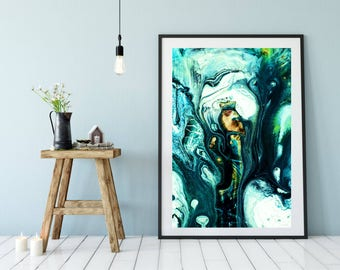 Large Teal Abstract Art, Gray and Teal Print, Teal Wall Art Print, Teal Poster Wall Art, Teal Art Poster, Teal Wall Art Decor, Modern Art