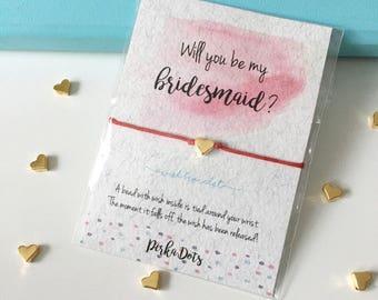 Wish bracelet, Make a Wish Bracelet, Red Thread Heart Charm String, Watercolor Gift Card, Gift Love Bracelet, Girlfriend Wishbracelet
