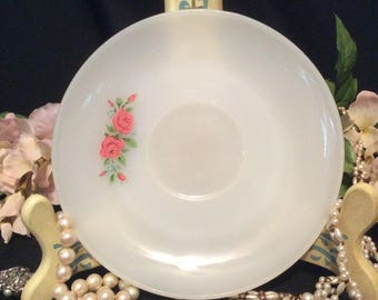 Anchor Hocking Fire King Milk White Tea Saucer with Red Roses