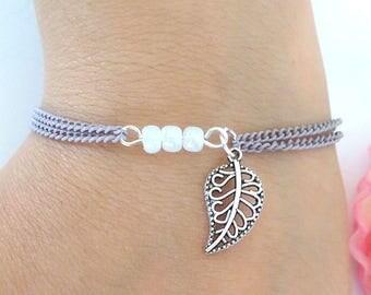 Leaf purple chain bracelet