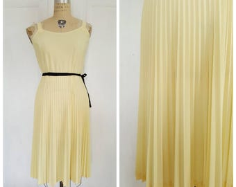 Vintage 70s/80s canary yellow dress with pleated skirt, fit and flare summer day dress, size medium