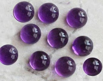Natural purple Amethyst 8 mm round shape cabochon - 10pic.
